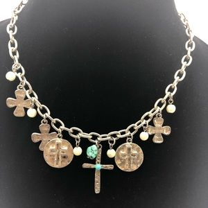 Jewelry - silver western necklacecrosses turquoise pearls